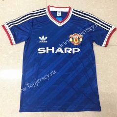 Retro Version 1986-1988 Manchester United Blue Thailand Soccer Jersey AAA-811