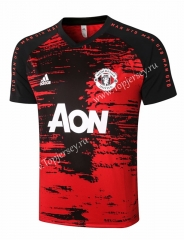 2020-2021 Manchester United Pad Printing Red Short-sleeved Thailand Soccer Tracksuit Top-815