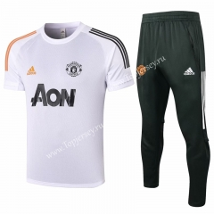 2020-2021 Manchester United White Short-sleeve Thailand Soccer Tracksuit-815