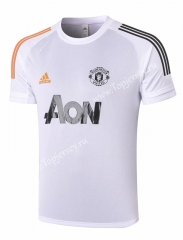 2020-2021 Manchester United White Short-sleeve Thailand Soccer Tracksuit Top-815