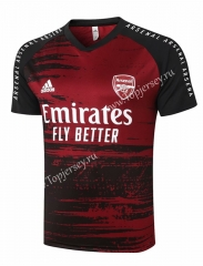 2020-2021 Arsenal Dark Red Short-Sleeve Thailand Soccer Tracksuit Top-815