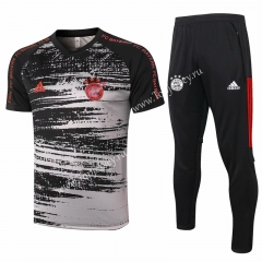 2020-2021 Bayern München Black&Gray (pad printing) Short-sleeved Thailand Soccer Tracksuit-815