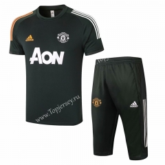 2020-2021 Manchester United Army Green Short-sleeve Thailand Soccer Tracksuit-815