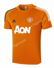 2020-2021 Manchester United Orange Short-sleeve Thailand Soccer Tracksuit Top-815