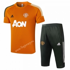 2020-2021 Manchester United Orange Short-sleeve Thailand Soccer Tracksuit-815