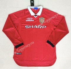 1999-2000 Retro Edition Manchester United Home Red Thailand LS Soccer Jersey AAA-422