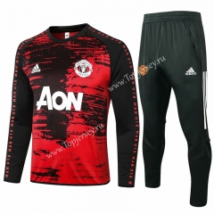 2020-2021 Manchester United Pad Printing Red&Black Thailand Soccer Tracksuit-815