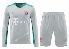 2020-2021 Bayern München Goalkeeper Light Gray LS Thailand Soccer Uniform-418