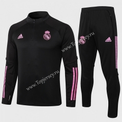 2020-2021 Real Madrid Black Thailand Soccer Tracksuit-815