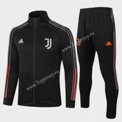 2020-2021 Juventus Black High Collar Thailand Soccer Jacket Uniform-815