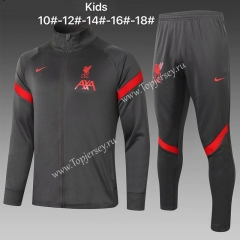 2020-2021 Liverpool Dark Gray Kids/Youth Soccer Jacket Uniform-815