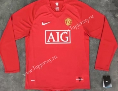 Retro Version 07-08 Manchester United Home Red LS Thailand Soccer Jersey AAA-510