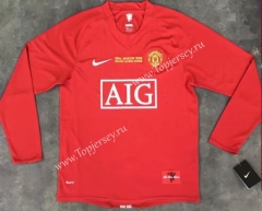 Retro Version 07-08 Champions League Manchester United Home Red LS Thailand Soccer Jersey AAA-510