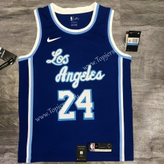 Latin Edition Los Angeles Lakers Blue #24 NBA Retro Jersey