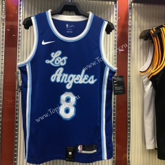 Latin Edition Los Angeles Lakers Blue #8 NBA Retro Jersey