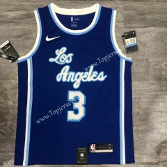 Latin Edition Los Angeles Lakers Blue #3 NBA Retro Jersey