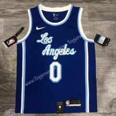 Latin Edition Los Angeles Lakers Blue #0 NBA Retro Jersey