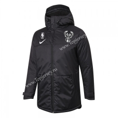 NBA Milwaukee Bucks Black Cotton Coat With Hat-815
