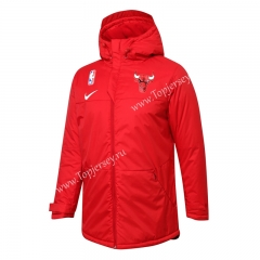 NBA Chicago Bulls Red Cotton Coat With Hat-815