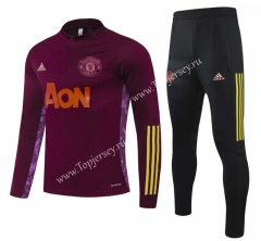 UEFA Champions League Version 2020-2021 Manchester United Maroon Thailand Soccer Tracksuit-GDP