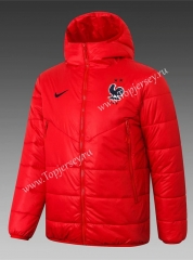 2020-2021 France Red Cotton Coat With Hat-815
