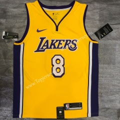 Retro Version Los Angeles Lakers V Collar Yellow #8 NBA Jersey