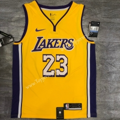 Retro Version Los Angeles Lakers V Collar Yellow #23 NBA Jersey