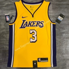 Retro Version Los Angeles Lakers V Collar Yellow #3 NBA Jersey