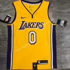 Retro Version Los Angeles Lakers V Collar Yellow #0 NBA Jersey