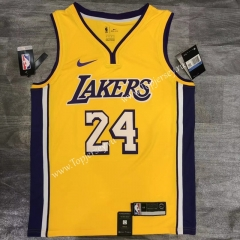 Retro Version Los Angeles Lakers V Collar Yellow #24 NBA Jersey