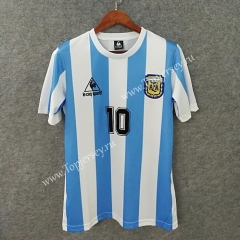 Retro Version 1986 Argentina Home Blue and White ( #10 Maradona ) Thailand Soccer Jersey AAA