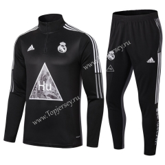 Joint Version 2020-2021 Real Madrid Black Thailand Soccer Tracksuit-411