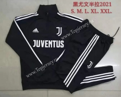 With Ad Version 2020-2021 Juventus High Collar Black Thailand Soccer Tracksuit-815