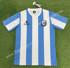 Retro Version 1986 Argentina Home Blue and White Thailand Soccer Jersey AAA-403