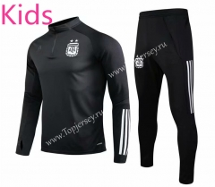 2020-2021 Argentina Black Kids/Youth Soccer Tracksuit-GDP