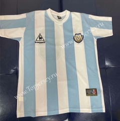 Retro Version 86 World Cup Champion Version Argentina Home Blue and White Thailand Soccer Jersey AAA-403