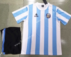 Retro Version Argentina Home Blue&White Soccer Uniform