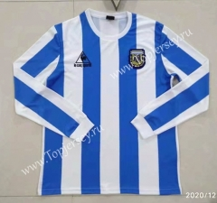 Retro Version 1986 Argentina Home Blue and White LS Thailand Soccer Jersey AAA-422