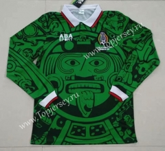 Retro Version Mexico Home Green LS Thailand Soccer Jersey AAA-422