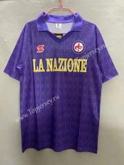 Retro Version 89-90 Fiorentina Home Purple Thailand Soccer Jersey AAA