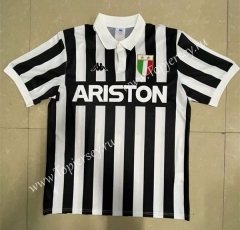 Retro Version 82-83 Juventus Home Black&White Thailand Soccer Jersey-818