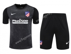 2020-2021 Atlético Madrid Goalkeeper Black Thailand Soccer Uniform-418