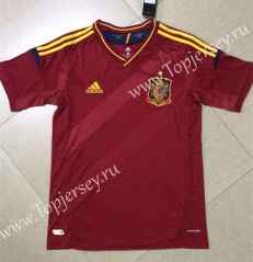 Retro Version 2012 European Cup Spain Home Red Thailand Soccer Jersey AAA-HR