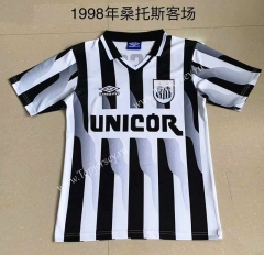 Retro Version 1998 Santos FC Away Black&White Strip Thailand Soccer Jersey AAA-AY