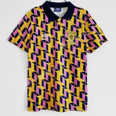Retro Version 1991-1993 Scotland Away Pink&Yellow Thailand Soccer Jersey AAA-C1046