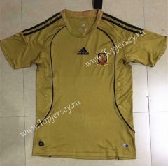 Retro Version 2008 World Cup Spain Away Yellow Thailand Soccer Jersey AAA-HR