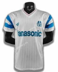 Retro Version 1990 Olympique de Marseille Home White Thailand Soccer Jersey AAA-C1046