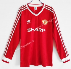 Retro Version 1986 Manchester United Home Red LS Thailand Soccer Jersey AAA-C1046