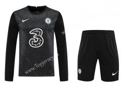 2020-2021 Chelsea Goalkeeper Black LS Thailand Soccer Uniform-418