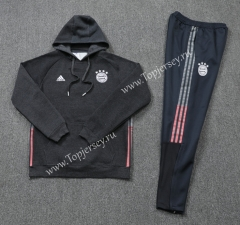 2020-2021 Bayern München Black ( Ribbion ) Thailand Soccer Tracksuit With Hat-LH